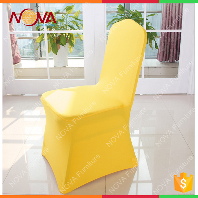 Hot sale elegant universal spandex/polyester material ruffled plain dyed pattern no iron wedding banqeut chair covers for sale