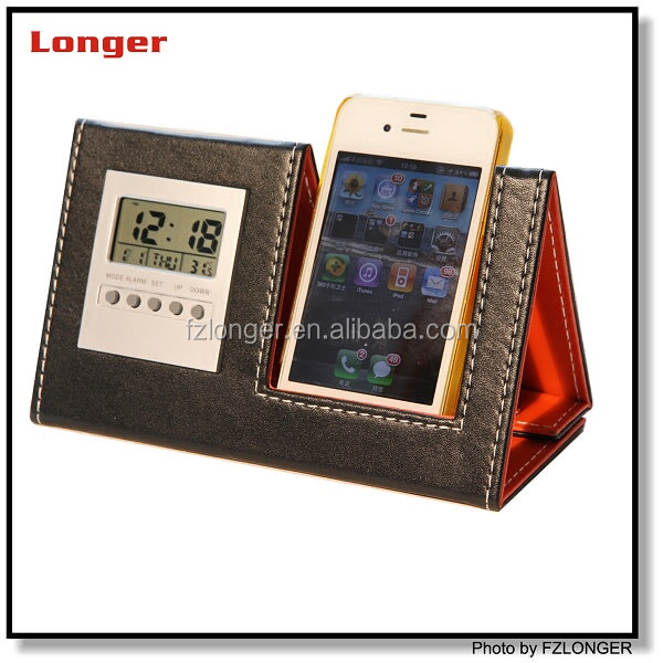 2015 pu leather phone holder with digital clock lcd phone holders mobile phone stand