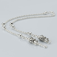 Brass fashion hip hop jewelry, Long chain silver animal dragon pendant necklace for men women