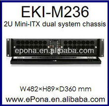 2U Mini-ITX dual system Compact Server case, Rackmount Chassis, industrial PC case EKI-M236