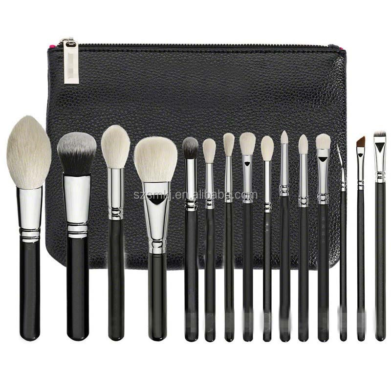 Hot sale goat hair custom logo 15pcs make up brush set rose gold makeup brushes
