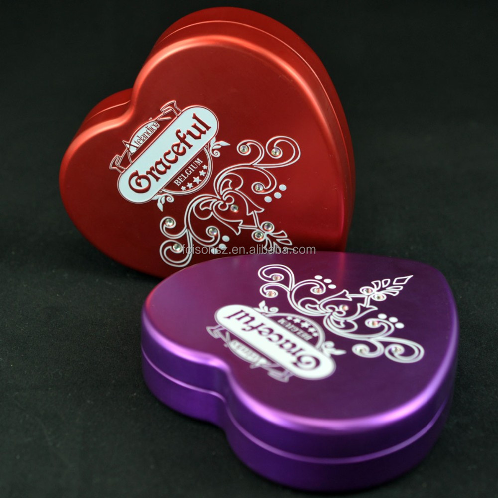 fancy Elegant Valentine gift packaging heart shaped Chocolate candy tin box for food