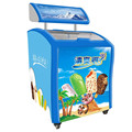 138L To 750L Commercial Open Curved Glass Door Display Chest Ice Cream Freezer For Supermarket With Advertising LED Box