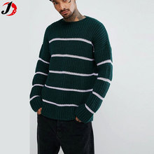 New Model Man Sweater Design Textured Striped Jumper In Bottle Green