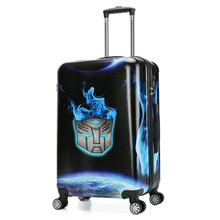 Fashion Black Blue Boys ABS suitcase , print hard case luggage