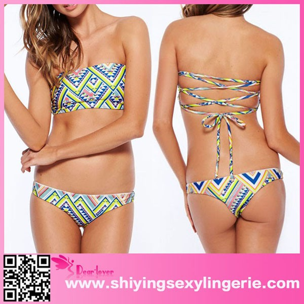 2015 Fashion Summer Geometric Pattern Bikini Swimwear hot photo