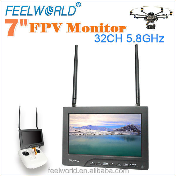 "7"" rtf wifi drone monitor with 5.8ghz 32ch wireless av receiver and non-blue screen"