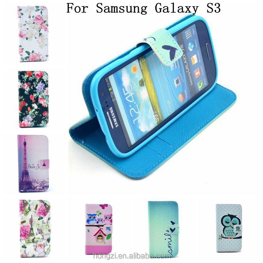 Wallet Stand Design Flip Leather Case Flower Tower For Samsung Galaxy S3 S III 3 GT-i9300 Phone Bag Luxury Cover case