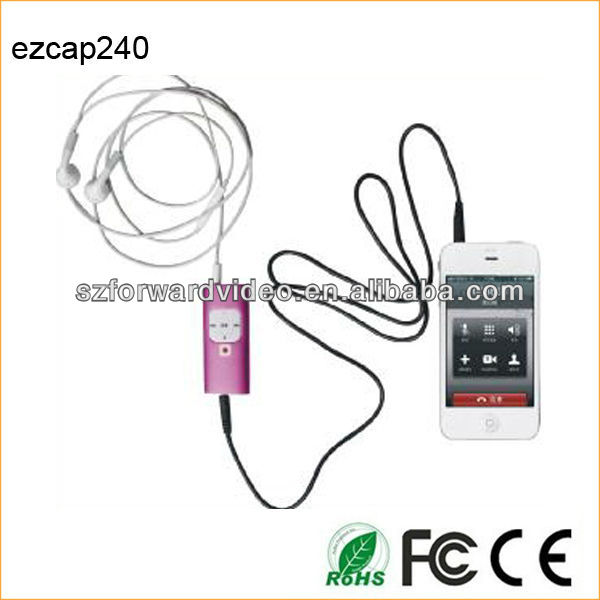 Let your mobile phones with call recording,smart mobilephone Calls recorder,3.5mm interface-ezcap240