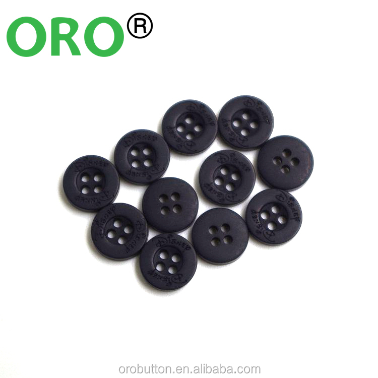 custom logo plastic buttonsand black plastic buttons 4 holes button for shirt