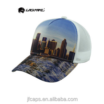 sublimation printing of the tall city building comfortable mesh hats and caps