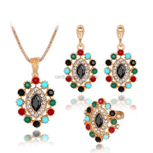 Boho gemstone oval pendant necklace earring ring set spring summer diamond jewelry set luxury semi-precious stone jewelry set