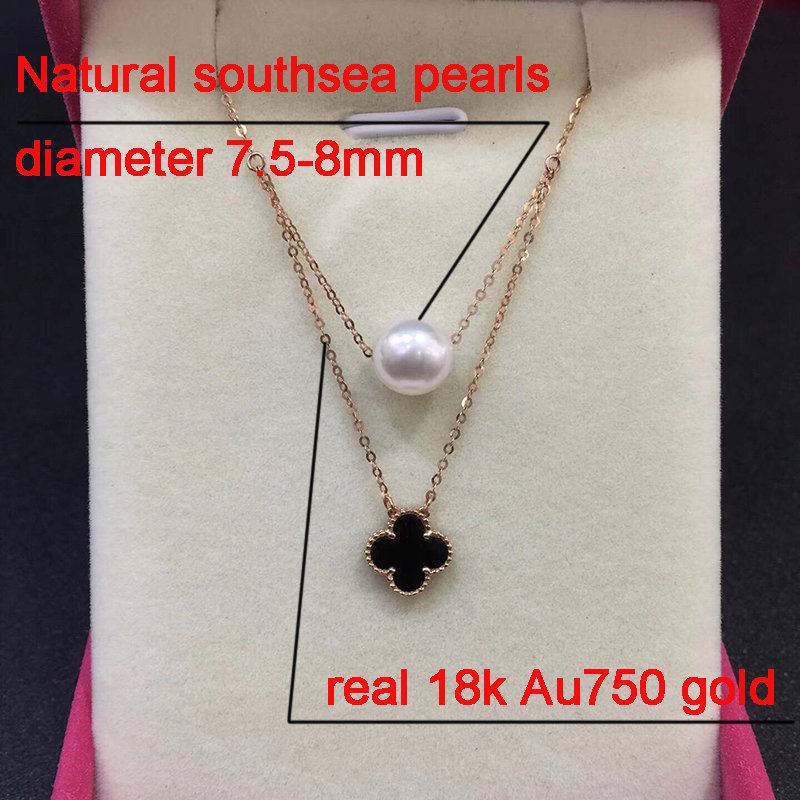Size sinya Hot 18k gold four leaf natural pearl pendant charm necklace for women white or black color optional Fine jewelry Hotsale