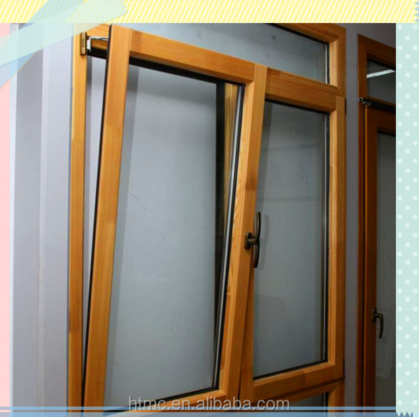 Aluminum top hung ventilation glass window with beautiful wooden color