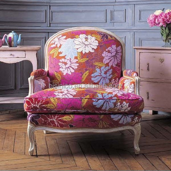 French New Design Pink Color Provincial Wooden Carving Armchair
