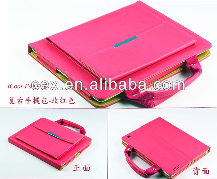 Handle Bag Portable Carry Pouch folio PU Leather Case Cover With Stand For ipad mini Tablet PC Hand Bag Case