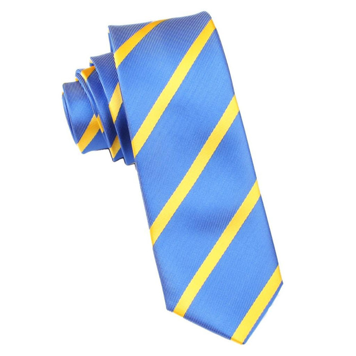 Business men's navy color gold stripe silk tie
