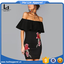 Off bahu bodycon fit gaya rose applique bordir gaun pesta ruffle