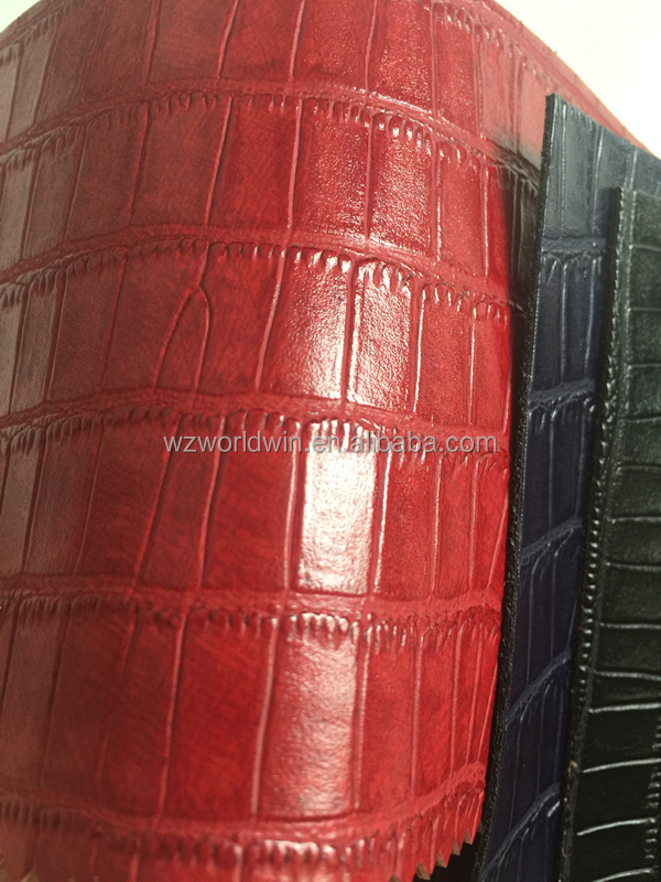 Embossed Polish leather Fashion crocodile pu leather