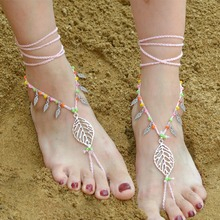Top Quality Barefoot Sandals Sexy Adjustable Dancing Colorful Crochet Leaf Shape Anklet