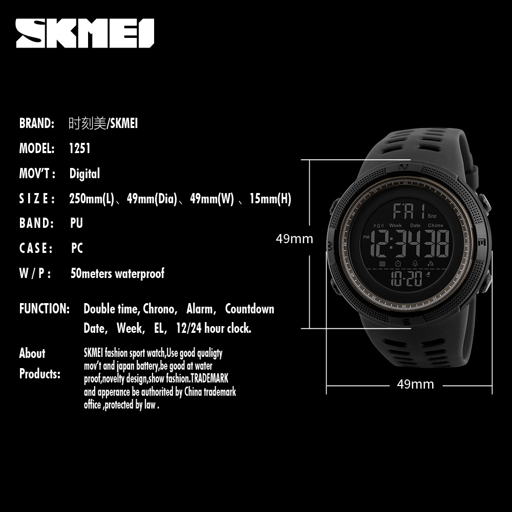 Top Good Quality Digital Plastic Watches Pupils Wristwatch Cheap Price Skmei 1251 For Teenage