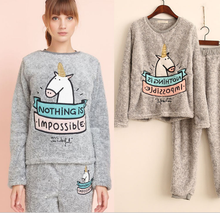 2017 new autumn and winter pajamas women coral cashmere home uniforms cartoon cute pajamas suit