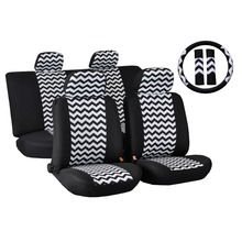 Universal Fit 11pcs Full Set Wavy pattern polyester Fabric Car Seat Cover