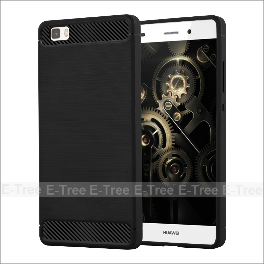 Luxury Brushed TPU Silicone Carbon Fiber Mobile Phone Shell Case Cover For Huawei P9