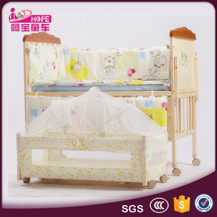 Best Selling Solid Wood Baby Cot with Cotton Bedding and Swing Cradle Bed