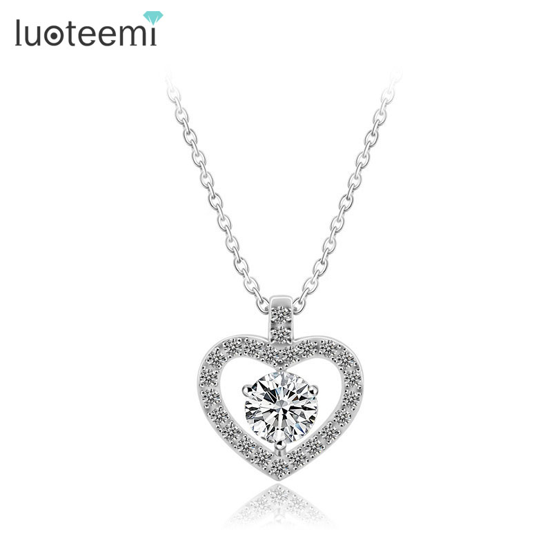 LUOTEEMI 2017 Fashion New Hearts And Arrows CZ Diamond Heart Pendant Necklace