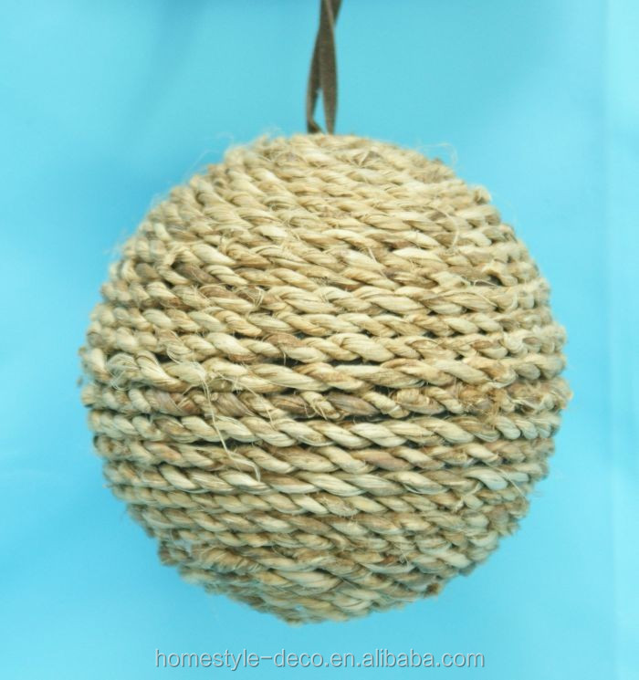 8cm 12cm Xmas ball wrapped with abaca rope christmas hanging ball