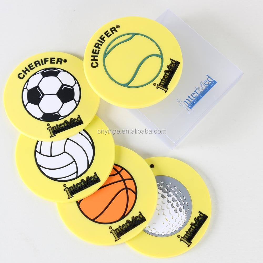 Custom silicone cup coaster soft rubber cup mat, 2D/ 3D PVC coasters silicon rubber pad