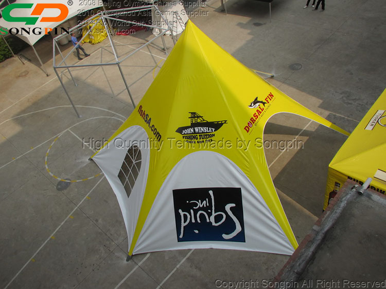 10m custom trade show yellow mobile  star tent with optional walls for sale