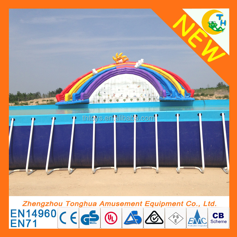 Promotion! inflatable donut pool float, inflatable mini swimming pool for kids, rectangular metal frame pool