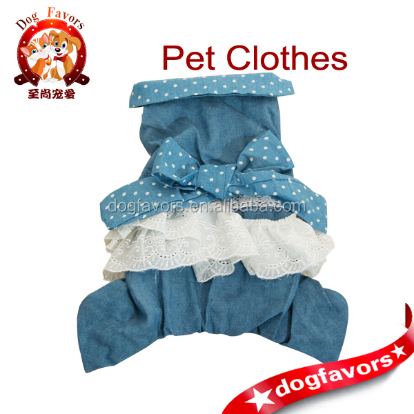 2014 Brand New Thicken Pet Denim Dress in Blue, Four Legs Dog Clothes