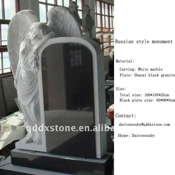 Shanxi black granite angel tombstone