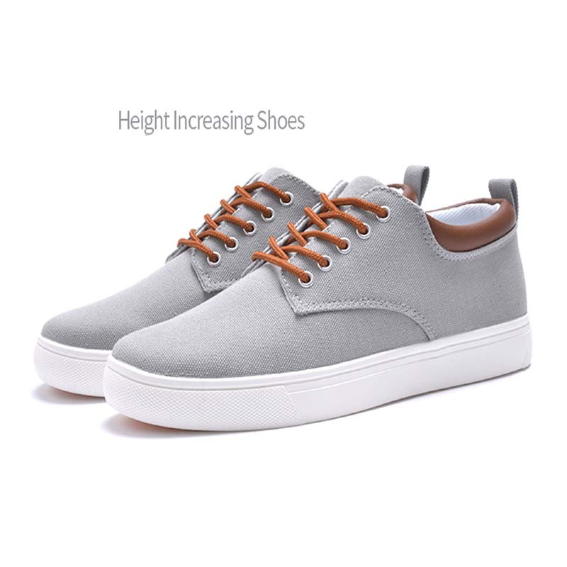 Most fashion casual sneaker shoes for man canvas material rubber height increasing shoes