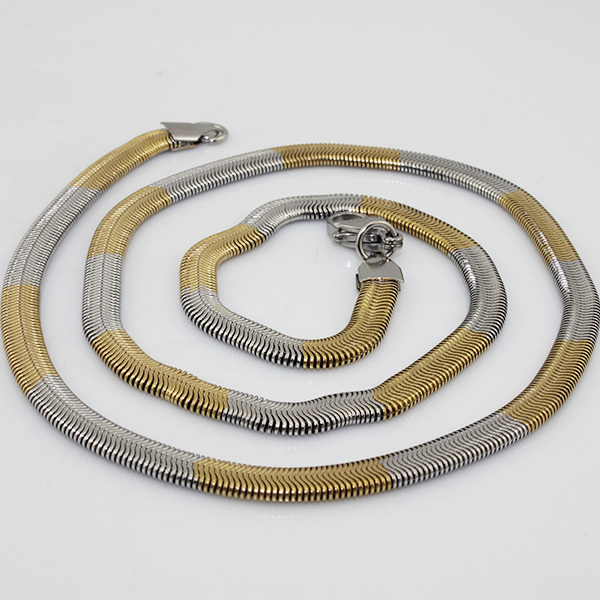 Wholesale Fashion Stainless Steel Gold Filled Snake Chain Necklace for Women & Men Jewelry 5mm*60CM