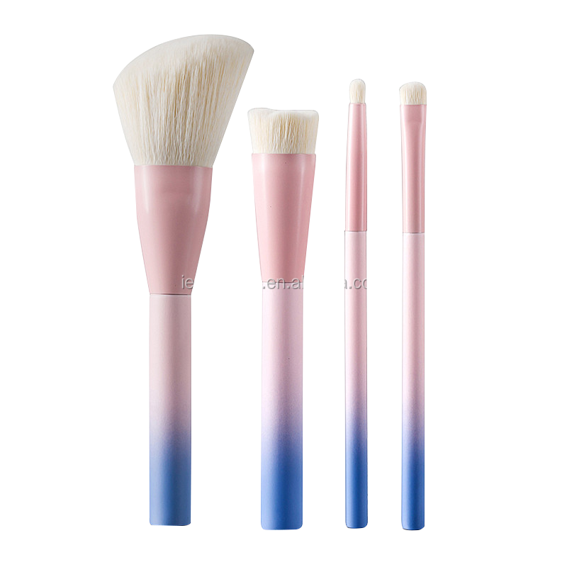 NEW Arrived High quality 4pcs pink with blue color Foundation cute makeup brush set