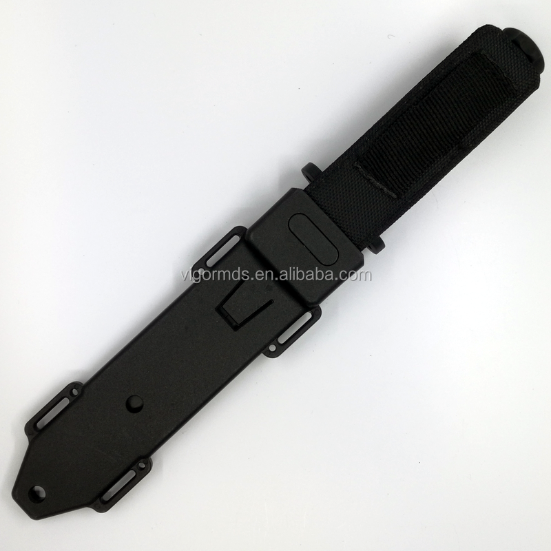 "(FBK-17000)11.8"" Black ABS Rubberized Finish Handle Fixed Blade Tactical Survival Combat Fighting Hunting Sheath Knife"