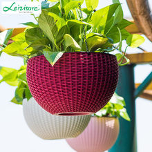 garden decoration rattan hanging illuminated plastic flower pot