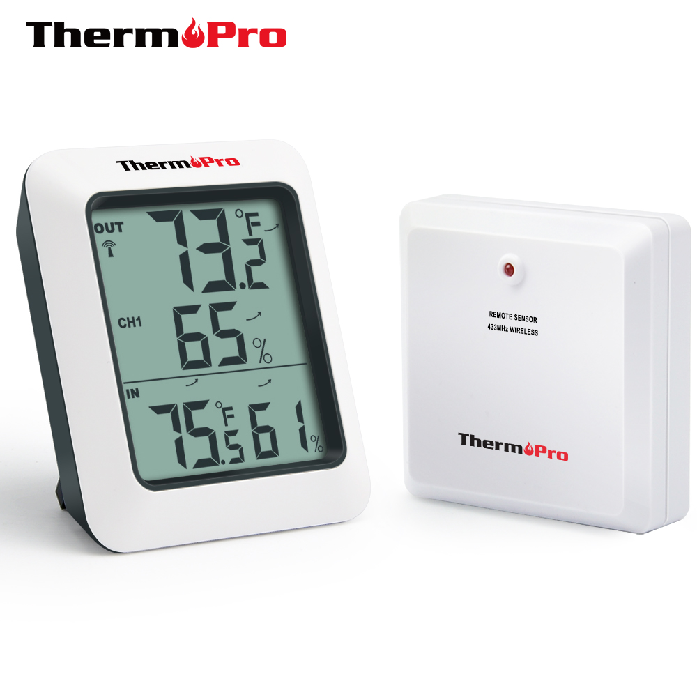 ThermoPro TP60 Digital Wireless Hygrometer Indoor Outdoor Thermometer Humidity Monitor with Temperature Gauge Humidity Meter