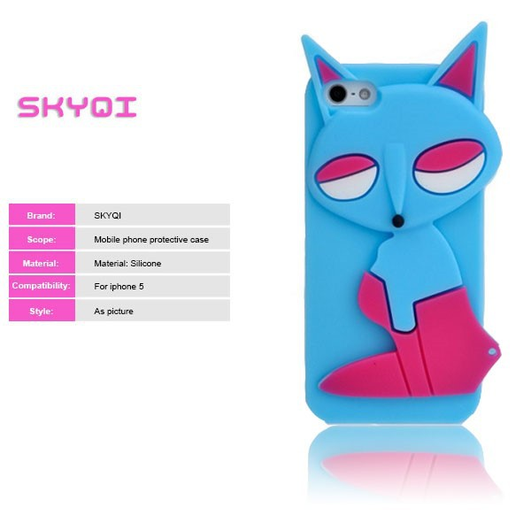 silicone case shaped animal of cute fox for iphone, lovely animal phone case, new design mobile phone case for iphone