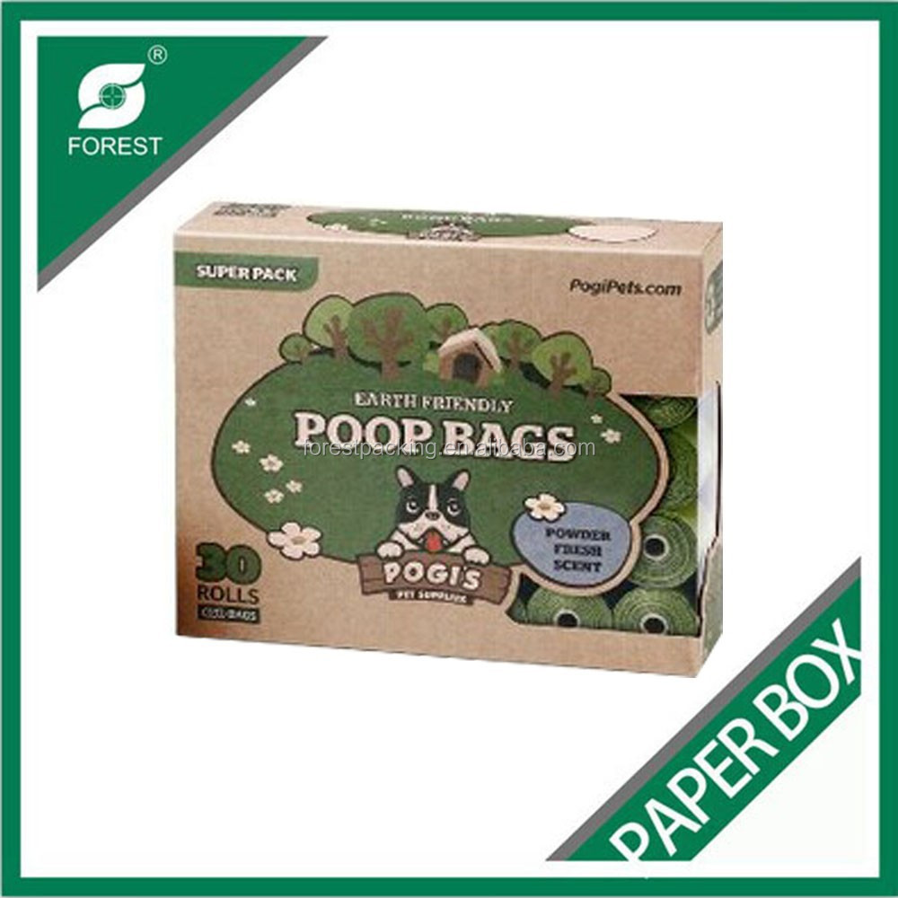 CUSTOMIZED BIODEGRADABLE DOG POOP KRAFT BAG BOX WITH PRINTING CHINA MANUFACTURER