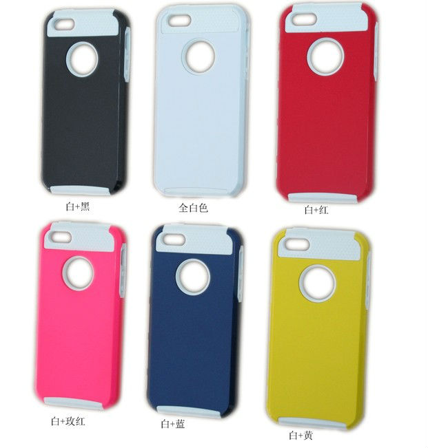 Soft silicone + Hard pc mobile phone cover for iphone 5 case