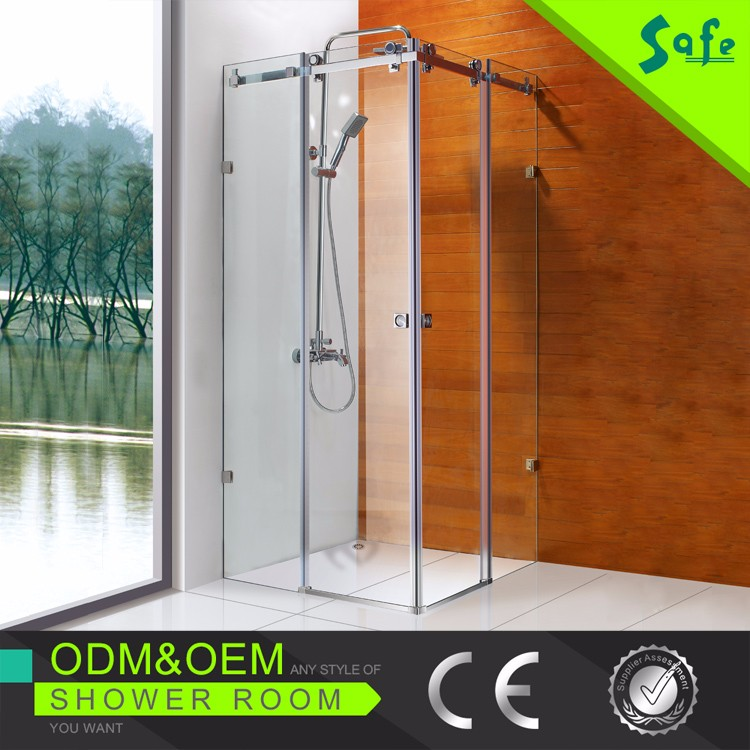 Stainless steel sliding curved bath screens with glass