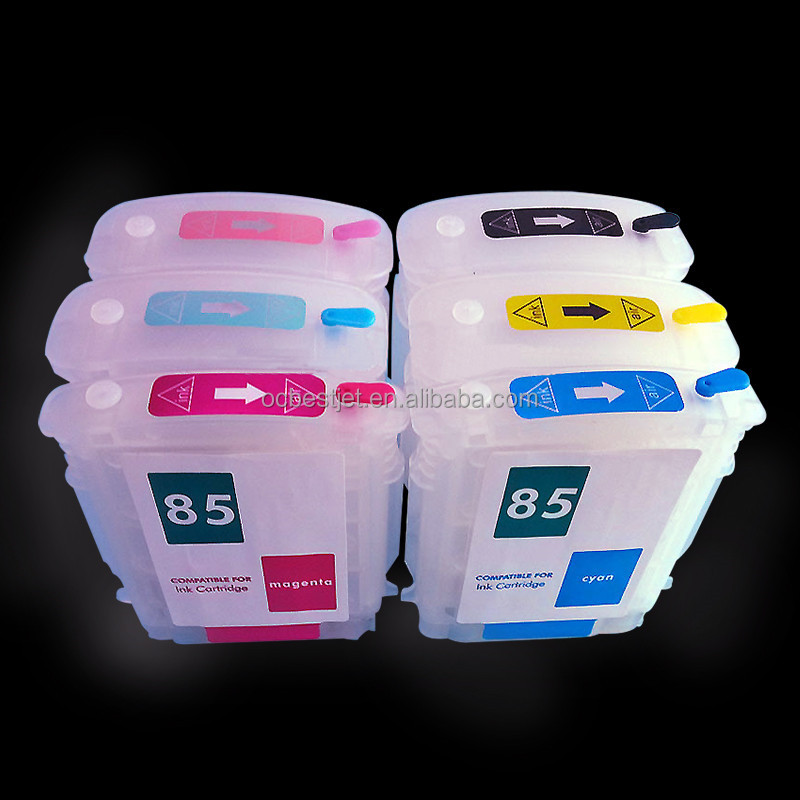 6 Colors For HP 84 85 Empty Refillable Ink Cartridge With Chip For HP 30 90r 130 Printer