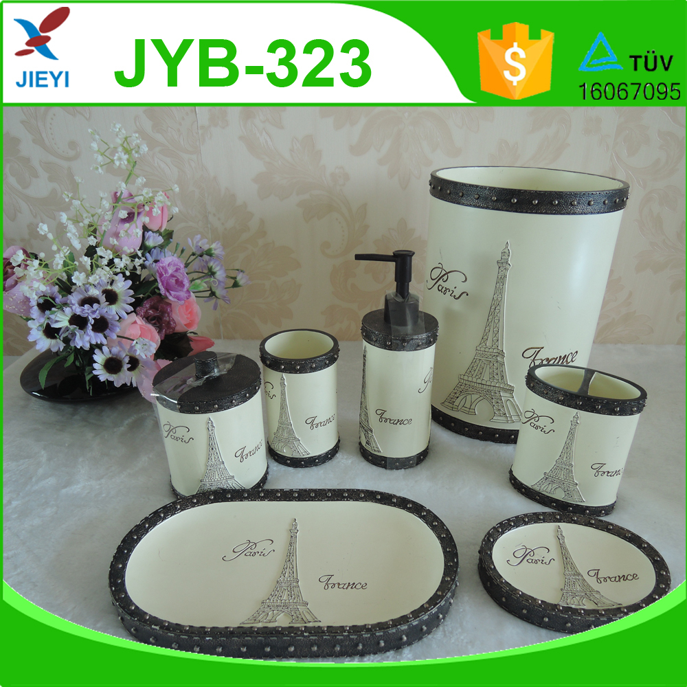 5pcs Dark Brown Brass Bathroom Set Maosaic Crackle Glass Bathroom Accessories