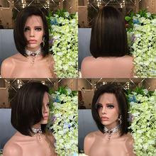 Popular style straight brazilian human hair lace front wigs short bob cut highlight hair