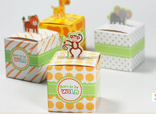 "Baby shower boxes of ""Born To Be Wild"" Jungle-Themed Favor Box For baby Birthday Party Favors"